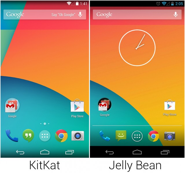 KitKat vs. Jellybean Home Screen